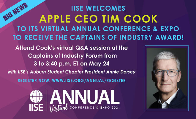 IISE welcomes Tim Cook to Annual Conference.
