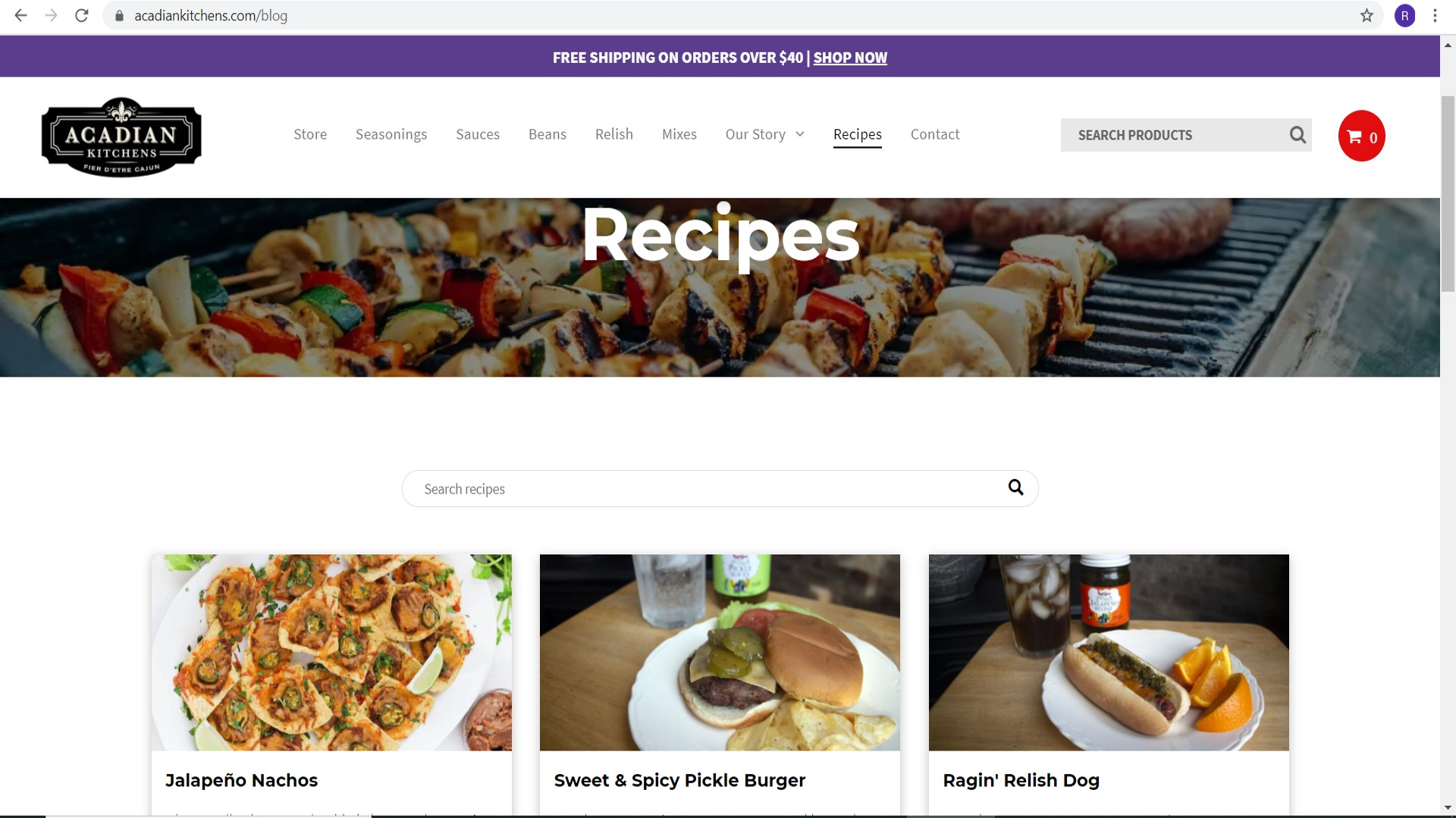 New Acadian Kitchens Website Recipes